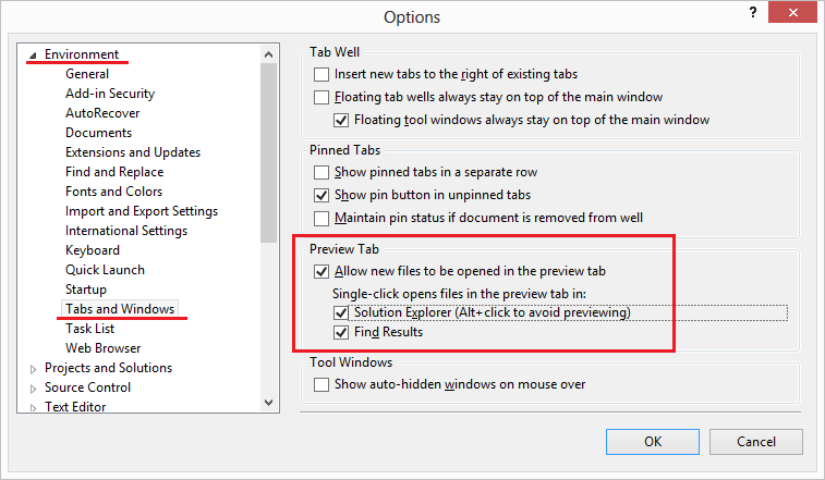 Turn Off Preview Tab For Solution Explorer Items In Visual Studio