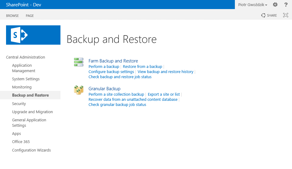 Backup and restore SharePoint CA section